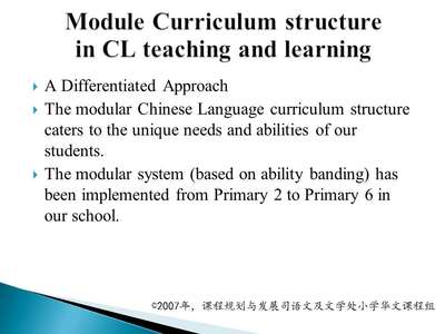 Module Curriculum structure in CL teaching and learning