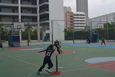 Tee-ball friendly match with the boys from Hong Kong St Andrew's Primary School.